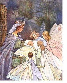 """Sleeping Beauty and the Fairies"" by Arthur Rackham Art Disney, Arthur Rackham, Illustration Mode, Wedding Illustration, Botanical Illustration, Vintage Fairies, Fairytale Art, Flower Fairies, Fairy Art"