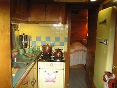Love the back bedroom in this vintage camper