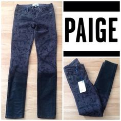 """Paige Skinny Jeans Paige Verdugo Ultra Skinny Jeans.  Faded Black with coated legs. Inseam approx. 31"""", Rise approx. 7-1/2"""", Low waist approx. 25-1/2"""".  98% cotton, 2% elastane.  (M2) Paige Jeans Jeans Skinny"""