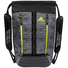The adidas? Skyline Sackpack is made of coated polyester and features 2  exterior zippered pockets.