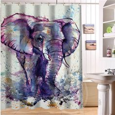 Elegant And Cute Elephant Personalized Custom Shower Curtain Bath Bathroom Decor