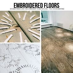 Embroidered Wood Floors from designer Monika Järg. Diy Craft Projects, Diy Crafts, Project Ideas, Diy Flooring, Inexpensive Flooring, Flooring Ideas, Wooden Flooring, Diy Tumblr, Pallet Art