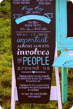 Mel  Mat's Wedding signs designed  painted by Cressy Lane #aqua #chalkboard #popofcolour #weddingsigns #bridalpartysign