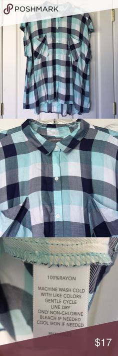 Plaid button up shirt Plaid button up shirt. Close up of neckline and print shown in picture 2. Fabric content and laundry care shown in picture 3. Back shown in picture 4. Alexander Jordan Tops Button Down Shirts