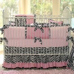 Black, Pink, White Zebra and Leopard Baby Crib Bedding at Jack and Jill Boutique