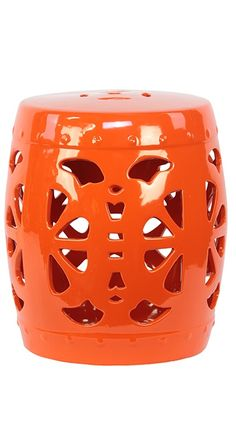 Perfect As A Side Table Or Extra Seating For Unexpected Guests, This Ceramic  Garden Stool Charms With Its Medallion Inspired Openwork Design And Orange  ...