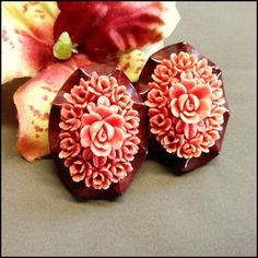 Coral Pink Earrings Carved Celluloid Roses 1950s Vintage Jewelry $55