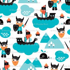 Viking Fabric - Scandinavian Vikings And Pirate Ship Illustration By Littlesmilemakers - Viking Cotton Fabric By The Metre by Spoonflower Kids Background, Background Patterns, Vikings, Viking Baby, Fish Illustration, Viking Ship, Minky Fabric, Spoonflower, Fabric Patterns