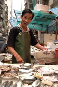 Fish Man - Graham St Markets, Central, Hong Kong by Justin Buckland.  I love this market, it is crazy & fun!