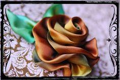 Brown and gold silk ribbon rose