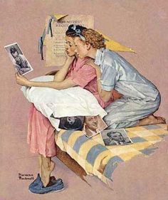 Mom and her sister Marlys were crazy about movie stars so this Norman Rockwell painting reminds me of the two of them.