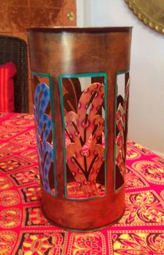 "Hand Painted Bohemian  Metal Antique Gold Candle Lantern  5""Wx10""Hx5""D #1"