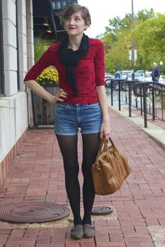 Modcloth Style Gallery! polka dot sweater + black scarf + shorts + black tights