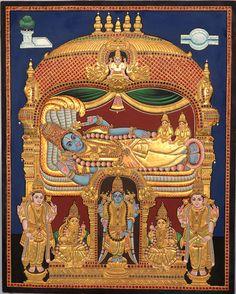 Lord Renganatha - Vishnu Reclining on a Serpent Tanjore Painting Mysore Painting, Tanjore Painting, Krishna Statue, Krishna Art, Ganesha Art, Lord Vishnu Wallpapers, Om Namah Shivaya, Indian Folk Art, Hindu Deities