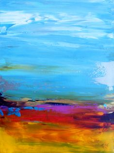 Abstract Landscape 'Many a Lively Night'- acrylic painting on canvas - size 30cm x 25cm