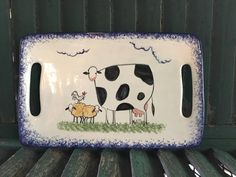 Cow Decor and Cow Collectibles by Molly Dallas - Cow and Farm Animal Serving Platter- Serving Dish - Can be customized or personalized gift by MollyDallasCo on Etsy