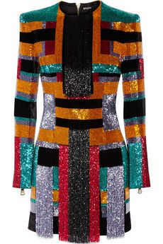 Balmain Color-block beaded velvet mini dress | THE OUTNET