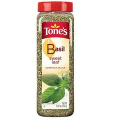 http://www.worldgrocerystoreandmore.ecrater.com/p/23620431/ Tone's Sweet Basil Leaf 5.5 oz Shaker.  Add this spice to pesto, spaghetti, tomato sauces, pizza, stuffing and cheese spreads. Select aromatic quality. Kosher. Packaged in a clear recyclable plastic bottle.