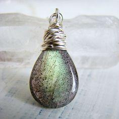 Green Labradorite Teardrop Cut Silver Gemstone by OneLoomStudio, $65.00