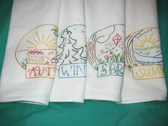 FOUR SEASONS-New hand embroidered 30 X 30 flour sack kitchen dish towel #Handmadewithnewmaterials