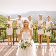 Stunning real bride Jodi with her bridesmaids. Jodie wore our 'Matilda' gown #realbride @kwhbridal #karenwillisholmes #kwhbridal