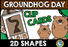 #GROUNDHOG #DAY #CLIP CARDS *Children have to identify the groundhog which lives in each 2d shaped burrow and clip a clothes pin onto that groundhog to show their choice.  This activity is perfect for Groundhog day but could be used all year round!* #shapes