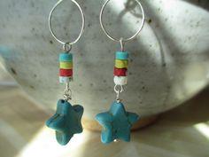 Turquoise Earrings Silver Hoop Earrings Blue Turquoise Earrings Star Earrings Southwest Earrings Earrings Dangle Earrings  Earrings under 10 by MillyLillyDesigns on Etsy
