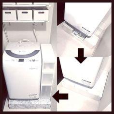 Saaaachanさんの、100均,洗面所,賃貸,ホワイトインテリア,白黒,モノトーン,洗濯機周り,すきま収納,バス/トイレ,のお部屋写真