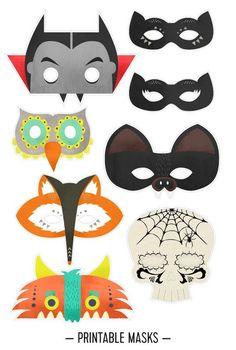 máscaras para imprimir de Halloween perfecto para Halloween cabinas de foto de la fiesta de los niños