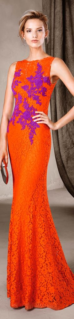 Pronovias 2017 orange dress women fashion outfit clothing style apparel @roressclothes closet ideas