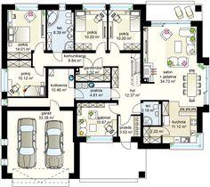Kaprys V projekt - Parter 158.77 m² + garaż 33.46 m² Free House Plans, Modern House Plans, Modern House Design, Home Building Design, Home Design Plans, Building A House, House Plans Mansion, House Floor Plans, Architect Design House