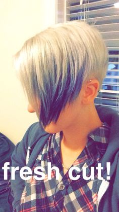 Angled pixie with purple and silver