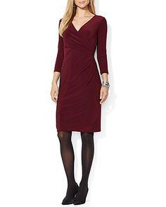 Lauren Ralph Lauren Dress - Two-Tone Crossover Neck   Bloomingdale's
