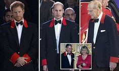 The Royal family marked the Queen's birthday at Windsor Castle last night with Princes Harry, Charles and Philip all wearing the traditional Windsor uniform - while Charles wore a black suit.