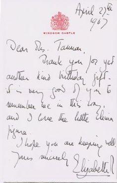 handwriting of queen elizabeth google search