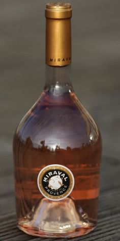 A bottle of 'Miraval, Cote de Provence' rose wine, 6,000 bottles of this rose wine, produced from grapes grown in the vineyard in southern France owned by U.S. actors Angelina Jolie and Brad Pitt, are now on sale around $20. per