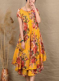 Dress - 52 89 - Floral Ruffles Short Sleeve Midi A-line Dress 1955251915 Women's Dresses, Women's Fashion Dresses, Elegant Dresses, Dresses For Sale, Casual Dresses, Summer Dresses, Diy Kleidung, Ruffle Shorts, Mi Long