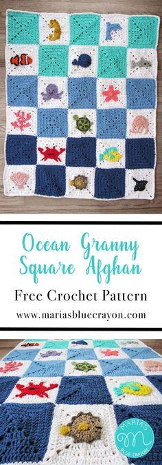 Ocean Granny Square Afghan   Free Crochet Pattern   Crochet Baby Blanket   Sea Creatures   Ocean Life