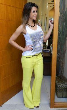 Blog da Ju Aline: Calça Flare Amarela