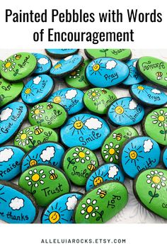These brightly colored painted stones are great for handing out to others or as birthday party favors! #birthdaypartyfavors #affirmations #encouragement #paintedrocks #rockpainting Rock Painting Patterns, Rock Painting Ideas Easy, Rock Painting Designs, Paint Designs, Rock Painting For Kids, Painting Rocks For Garden, Paint Ideas, Pebble Painting, Pebble Art