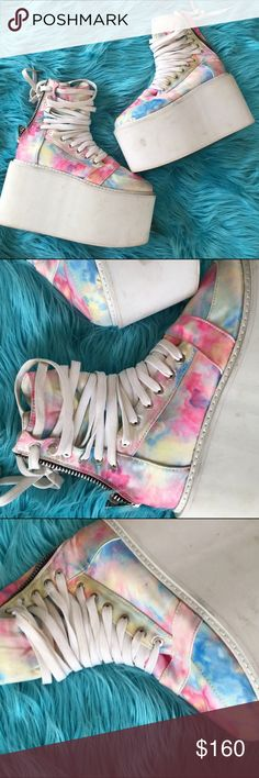 UNIF SZ 7 TYE DYE PLATFORM SHOES SNEAKERS RARE Amazing rare ass UNIF shoes marked an 8 but fit a 7 perfect UNIF Shoes