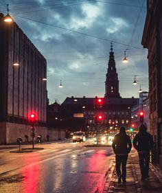 Copenhagen by night - in the background the old stock exchange 'Børsen'