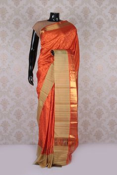 #Orange dual #shade & #gold kanchipuram #silk sublime #saree with multicoloured border -SR11592