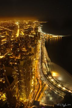 Lake Shore Drive, the Gold Coast, Old Town and Lincoln Park shine on a cold winter night. ~ Chicago, Illinois