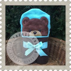 Teddy Bear hooded towel embroidery design.  Applique sewing project idea.
