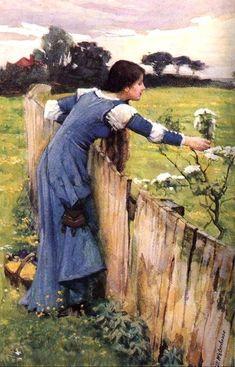Flower picker, Oil by John William Waterhouse (1849-1917, Italy). Love the dress.