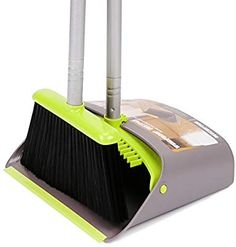 Upright Dust Pan Combo for Home Office Broom Dustpan Suit Combination Kitchen Dust Pan and Broom Self-Cleaning with Dustpan Teeth Dog Cat Pets Use Room