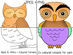 This huge set contains over 20 different original and beautiful owl drawings. I included all of them in the preview so you know exactly what you are purchasing. This nice pack is perfect for school activities, birthdays, holidays, etc.