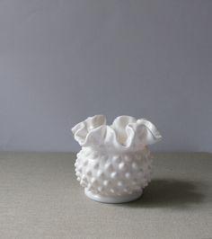 Vintage Fenton Milk Glass Hobnail Vase.