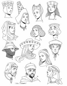 Mega Coloring Pages. More then 7500 coloring pages from scouting, holidays, movies, fairy tales and many more. Moda Medieval, Medieval Hats, Medieval Fashion, Medieval Clothing, Historical Clothing, Middle Ages Clothing, Coloring Books, Coloring Pages, Renaissance Era
